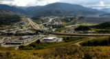 (DILLON Colo., August 10,2004)  I-70 drains out of the Continental Divide into Dillon; built...