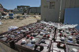 Batteries used in the University of Colorado Solar Decathlon home, wait for shipment, Thursday...