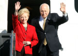 Vice President Dick Cheney arrives with his wife Lynne Cheney at Thursday Sept. 27, 2007 Denver...