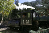 Train engineer Steve Flemmer pulls into Devil's Gate Station Wednesday afternoon September 26,...
