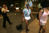 DM0062  Rookie Justin Upton walks into the Weston Hotel wearing a baby costume in Denver, Colo.,...
