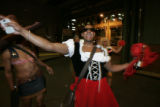 DM0076  Rookie Tony Pena walks into the Weston Hotel in drag in Denver, Colo., Thursday, Sept. 27,...