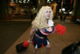 DM0082  Rookie Miguel Montero walks into the Weston Hotel wearing a cheerleader outfit in Denver,...