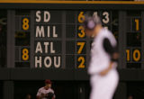 [JOE0301] The scoreboard shows the San Diego Padres score against the Milwaukee Brewers as...