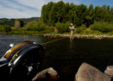 (GRANBY  Colo., June 26, 2004) Mike Fiscus, of Northern Colorado Water,  uses a AA Current Meter...