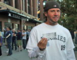 Matt Sparks (cq) was one of the first to buy tickets at Coors Field at 7am Monday October 1,2007....