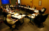 (DENVER Colo., July 28, 2004)  Denver Water Board President Denise Maes ( right - end of table)...