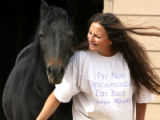"Maxine Mager (cq) at her no-kill animal sanctuary ""Creative Acres"" with..."