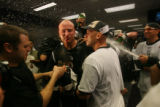[ES1615] Matt Holliday celebrates in the Rockies clubhouse after their 9-8 victory in 13 innings....