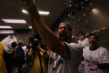 [ES1676] Todd Helton celebrates in the Rockies clubhouse after their 9-8 victory in 13 innings....