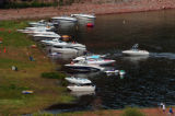 (RUEDI RESERVOIR Colo., July 4, 2004)  Boats line the shore of Ruedi Reservoir over the July 4th...