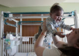 Janay Skinner (cq) and her 10-month-old son Milo Skinner, who suffers from a small and collapsing...