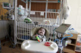 Milo Skinner, ten months, who suffers from a small and collapsing windpipe, enjoys his new room on...