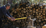 Neal Taylor splits logs to get ready for winter -the stove will be the only heat source at Barr...