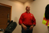 Clear Creek County Undersheriff, Stu Nay speaks during a press conference where he announced that...