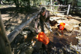 Not far from their cabin Neal Taylor fills up buckets of water from a stream that they will filter...