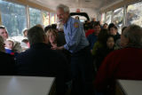 Engineer, Walt Long (cq) answers question for passengers on the Pikes Peak Cog Railway , in...