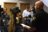 Clear Creek County Undersheriff  Stu Nay (cq) during   a  press conference in Georgetown Wednesday...