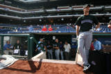 [ES1815] Colorado Rockies LPH Jeff Francis takes in Citizens Band Park before batting practice as...