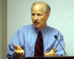Denver,Colo.-May 18, 2004- State Treasurer Mike Coffman talks to  Colorado's title setting board...
