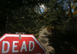 A dead end sign stands in front of the road that leads up the hill to the XCel Hydroelectric Power...