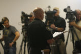 Under Sheriff Stu Nay (cq) acts as PIO in a press conference held at 4pm in the town of Georgetown...