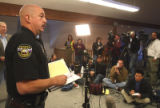 Clear Creek County Undersheriff  Stu Nay (cq) during press conference in Georgetown Wednesday...
