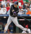 [JOE0382] Colorado Rockies Kazuo Matsui hits a fly ball in the eighth inning to miss hitting for...