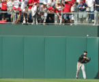 Colorado Rockies Ryan Spilborghs retrieves Phillies batter Jimmy Rollins' two-RBI triple in the...