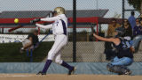3A Holy Family's #7 Caitlin Connelly makes a hit with Platte Valley's #25 Meghan Creech in the...