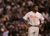 [JOE0411] Philadelphia Phillies batter Ryan Howard stands in the infield after ground out to end...