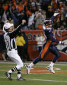 Tim Crowder scores a a TD as the Broncos after a Roethlisberger fumble in the 2nd quarter as the...