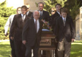 (BEATRICE, Nebraska, September10, 2004) Ten casket bearers carry the body of Samantha out of the...