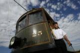 DM0029     Darrell T. Arndt stands at the controls of Interurban No. 25. Arndt is the project...