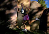 Kristina Freisem (cq) holds her 32 medals from the 32 marathons that she has run in Colorado as...