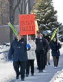 January 25, 2007 Geralyn Hackbarth (front) and other Miller Brewing employees protest pension...