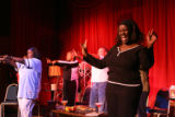Sheryl Renee, cq, (far right) and other cast members of a new musical called Sista's and...