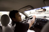 Nikko Landeros (cq),18, during his final and third session of driving rehabilitation Tuesday May...