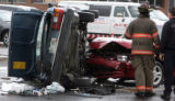 Denver Firefighters investigate a two-car accident at 6th Avenue  and Kalamath Street Tuesday May...