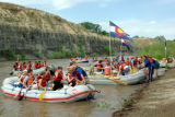 Teens depart from the Colorado River Boat Landing at Corn Lake near Clifton Colorado. The teens...