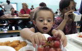 Mark Groetken, 1 1/2 enjoys his lunch at Castro Elementary School Monday May 4, 2007. His mother...