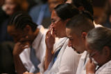 (at center) Elsha Guel (cq), mother of 2 year-old Jose Matthew Jauregui Jr. (cq) weeps at his...
