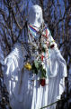 A statue of the Virgin Mary at the top of Cabrini Shrine is adorned in Rosaries by Pilgrims who...