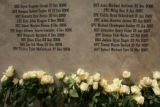 MJM079  Flowers lay against a stone memorial with newly added names of Fort Carson soldiers killed...