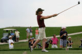 Megan Faucett, Alamosa, tees off 15 a Par 5, during the first round in the Class 4A girls golf...
