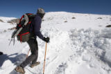 Matt Strickler (cq) ,57, walks to go snowshoeing  at Summit Lake near Mt. Evans on Friday May...