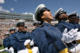 MJM207   Air Force Academy cadet, Jennifer Ng (cq), 22, of Randolph, Mass. cheers Wednesday May...