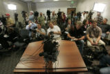 0240 Dozens of media outlets await the arival of Gwen Ann Huitt M.D., the primary physician for...