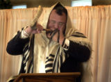 Greenwood Village, Colo.-September14,2004- Rabbi Yaakov Meyer blows the Shofar Tuesday morning...