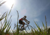 A cyclist pedals along highway 83 on his way to County Line Road as part of the Elephant Rock...